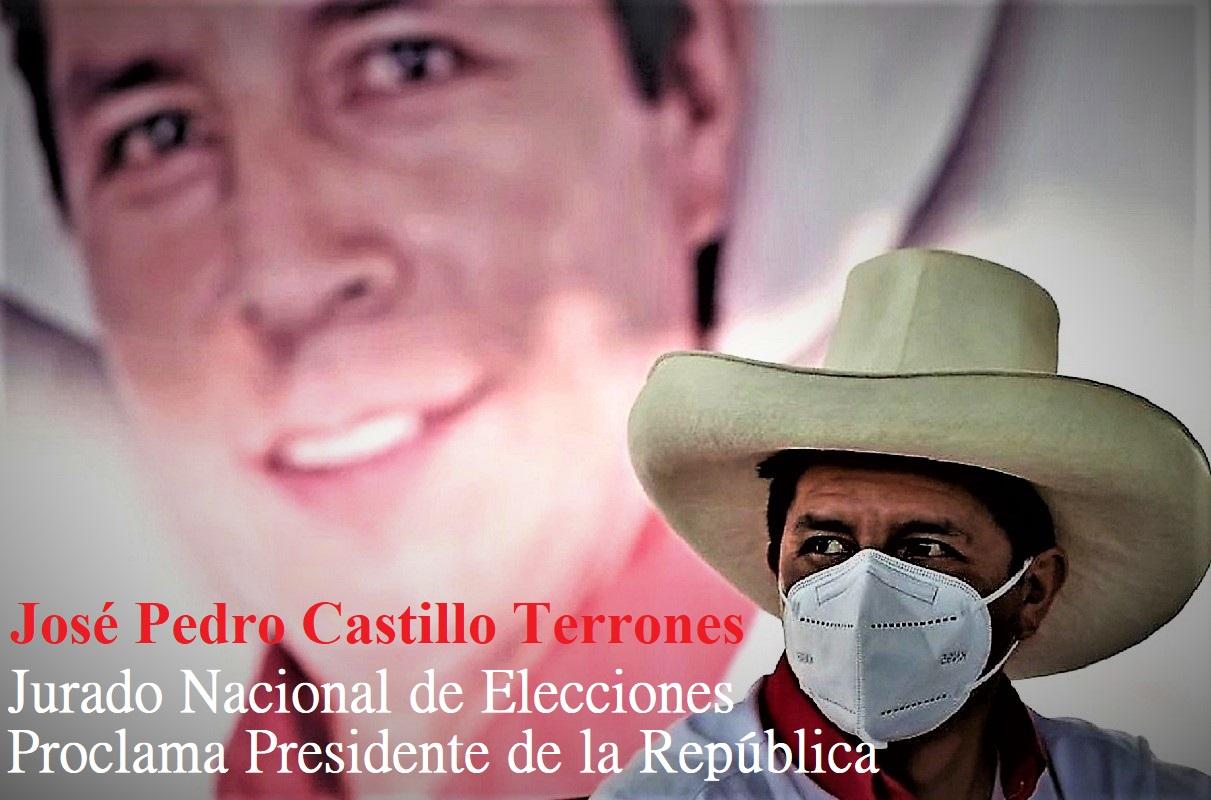 José Pedro Castillo Terrones, fue proclamado Presidente de la República del Perú.