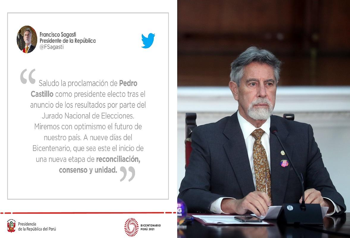 Francisco Sagasti, saludó la proclamación de su sucesor Pedro Castillo en la presidencia del Perú por parte del JNE.