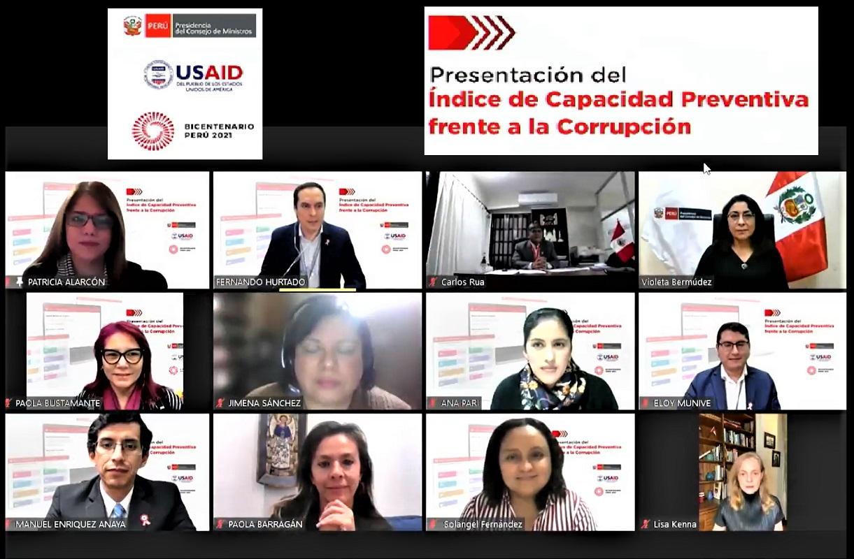 PERÚ: presenta su Índice de Capacidad Preventiva frente a Corrupción, PCM busca un Modelo de Integridad en el Estado.