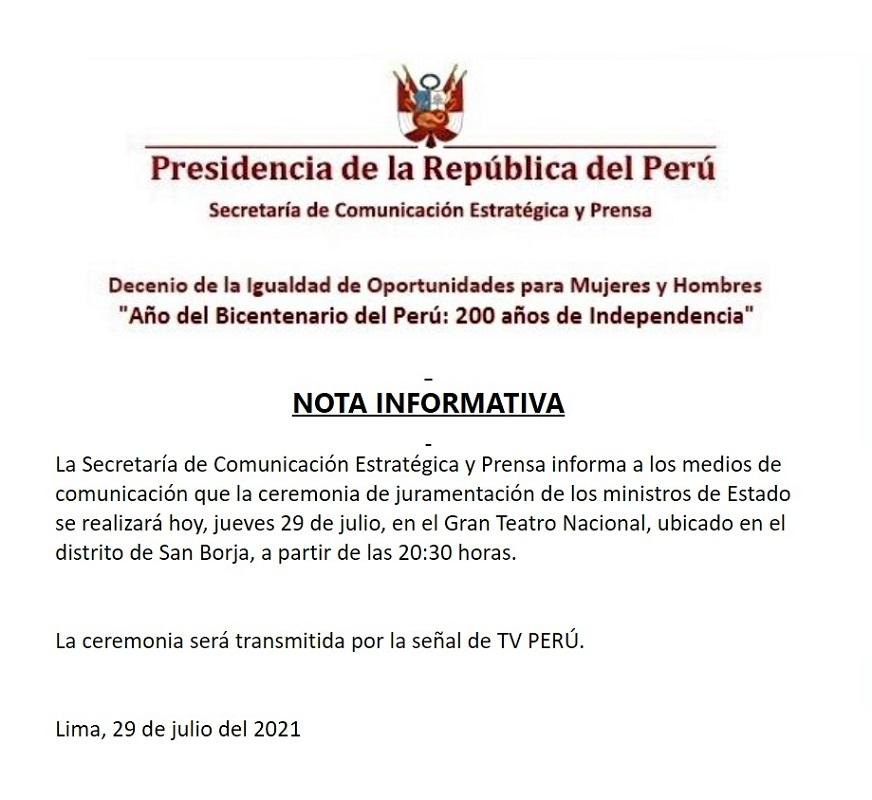 Gobierno rectifica y hoy se realizará ceremonia de juramentación de ministros de Estado.