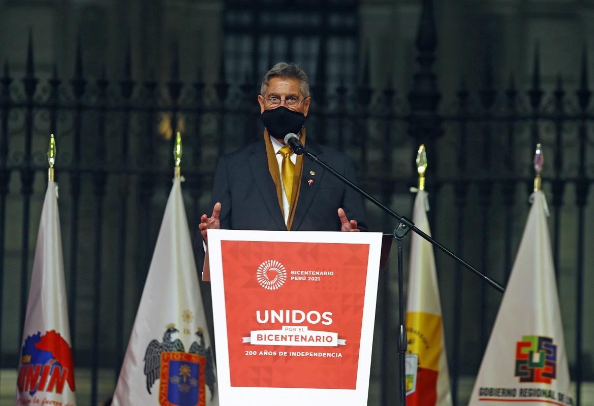 """""""Unidos por el Bicentenario"""" ceremonia fue liderada por el jefe de Estado Francisco Sagasti, antes de concluir su gobierno."""