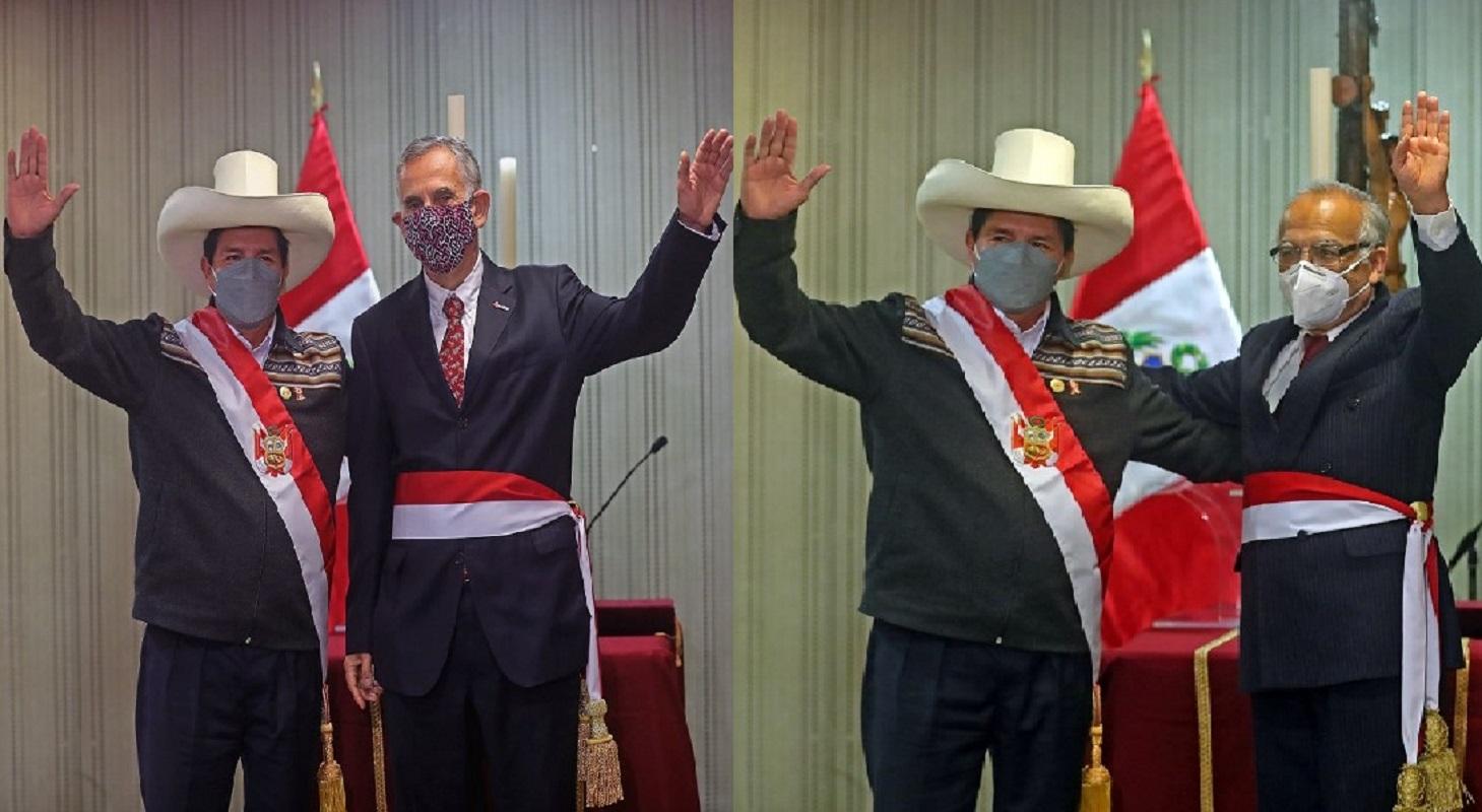 Jefe de Estado Pedro Castillo tomó juramento a ministros de Economía y Justicia, respectivamente.