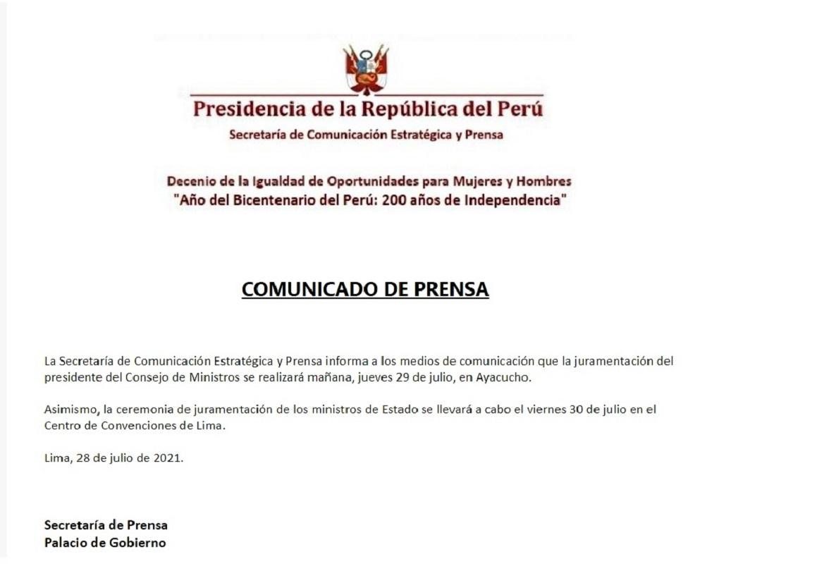 Juramentación del nuevo presidente del Consejo de Ministros y de los futuros nuevos ministros.