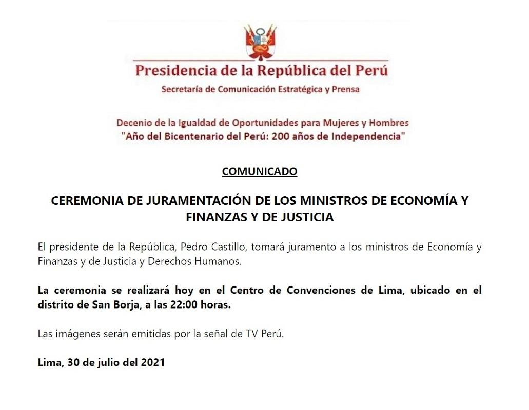 Ceremonia de juramentación de los ministros de Economía y Finanzas y de Justicia y Derechos Humanos.