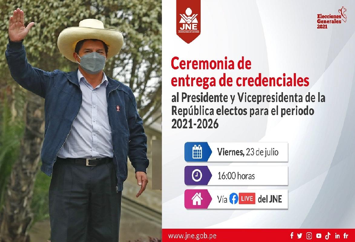 JNE entrega este viernes 23 la credencial de presidente de la república a José Pedro Castillo Terrones.