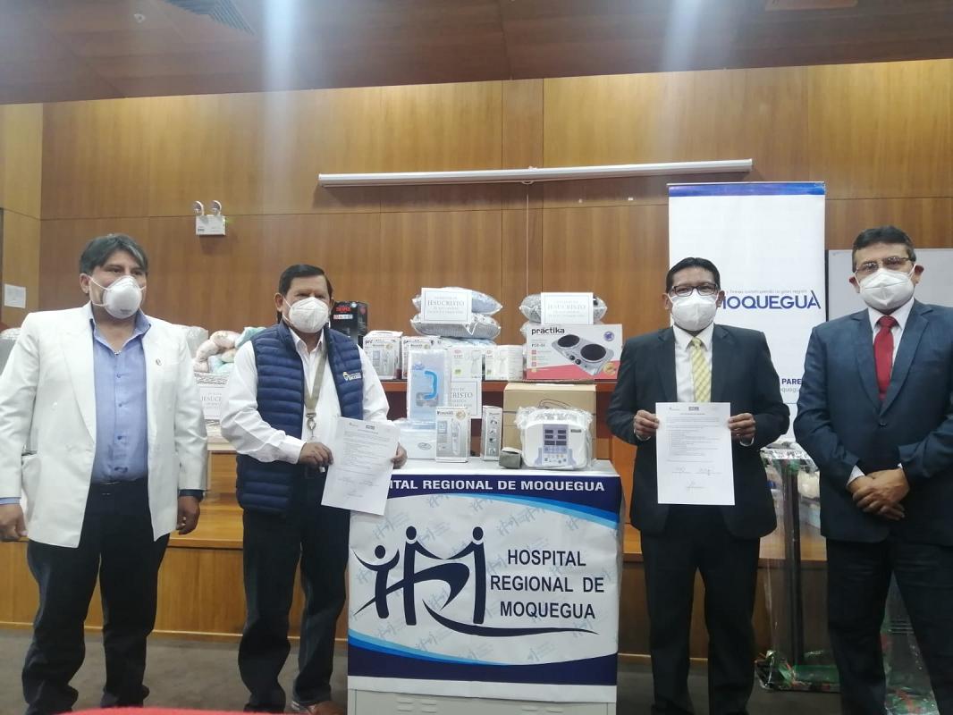 Iglesia de Jesucristo entrega donación al área de Neonatología del Hospital Regional de Moquegua.
