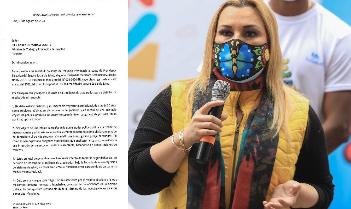 Fiorella Giannina Molinelli Aristondo, renuncia EsSalud y podría ir largo tiempo a prisión.