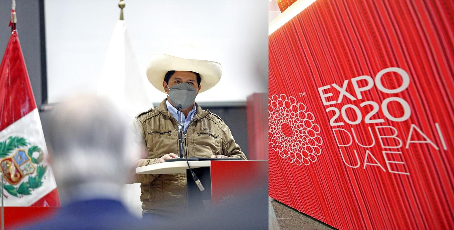 Expo 2020 Dubái, es la oportunidad para promover los negocios, las inversiones, el turismo y otros, indicó presidente Castillo.