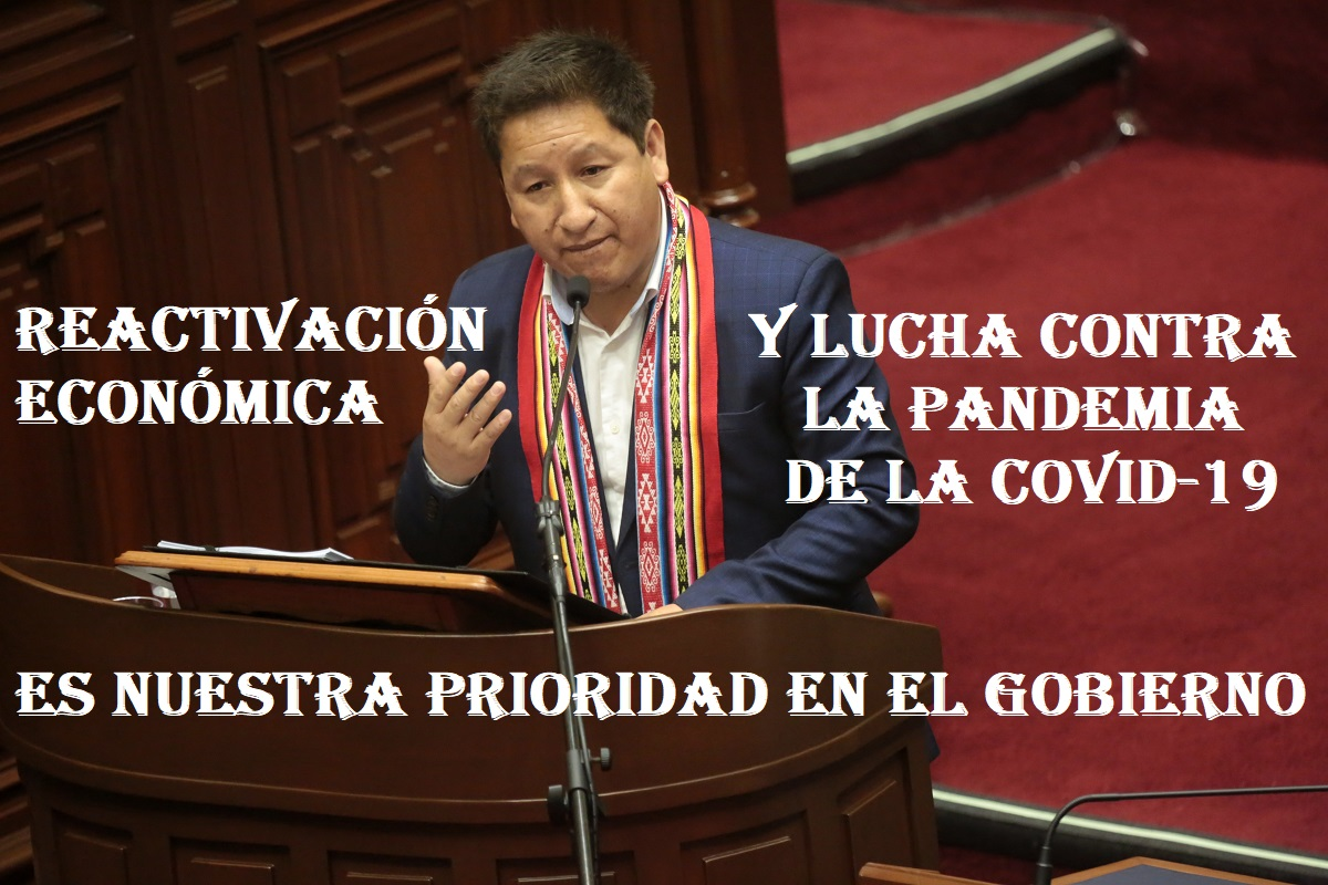 Medidas contra la pandemia de la Covid-19 y la reactivación económica, planteadas al Congreso por el premier Guido Bellido.