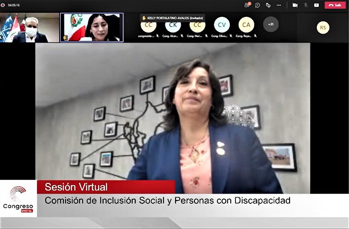 Ministra, Dina Boluarte (MIDIS) expuso las estrategias del sector ante Comisión de Inclusión Social y Personas con Discapacidad del Congreso.
