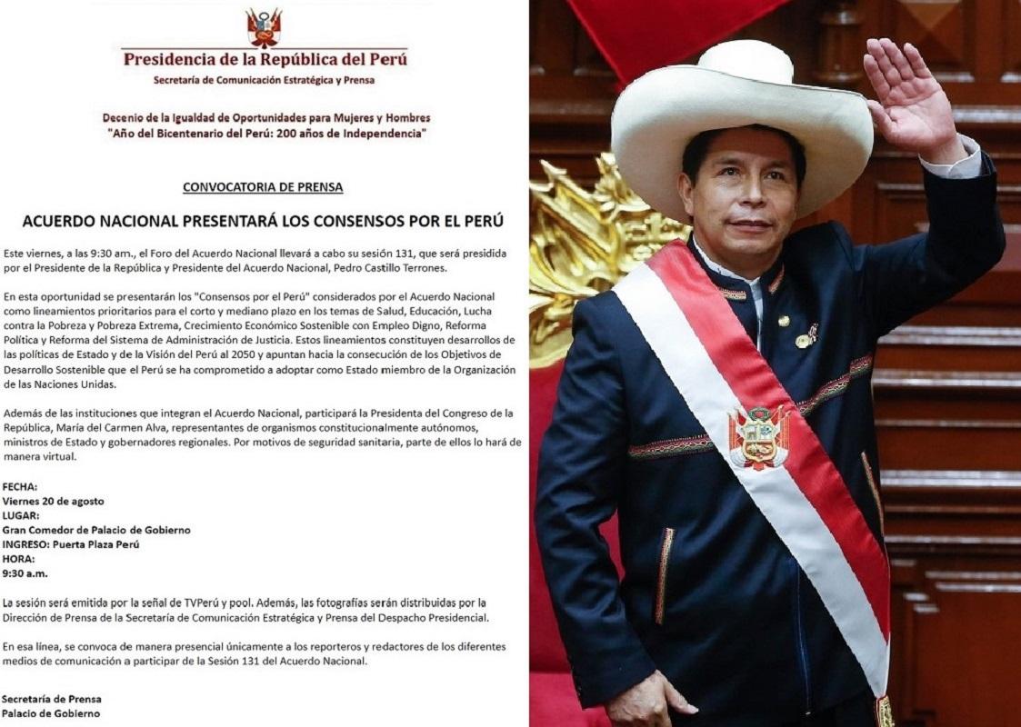 Sesión 131 del Foro del Acuerdo Nacional se desarrolla mañana liderara por el jefe de Estado Pedro Castillo.