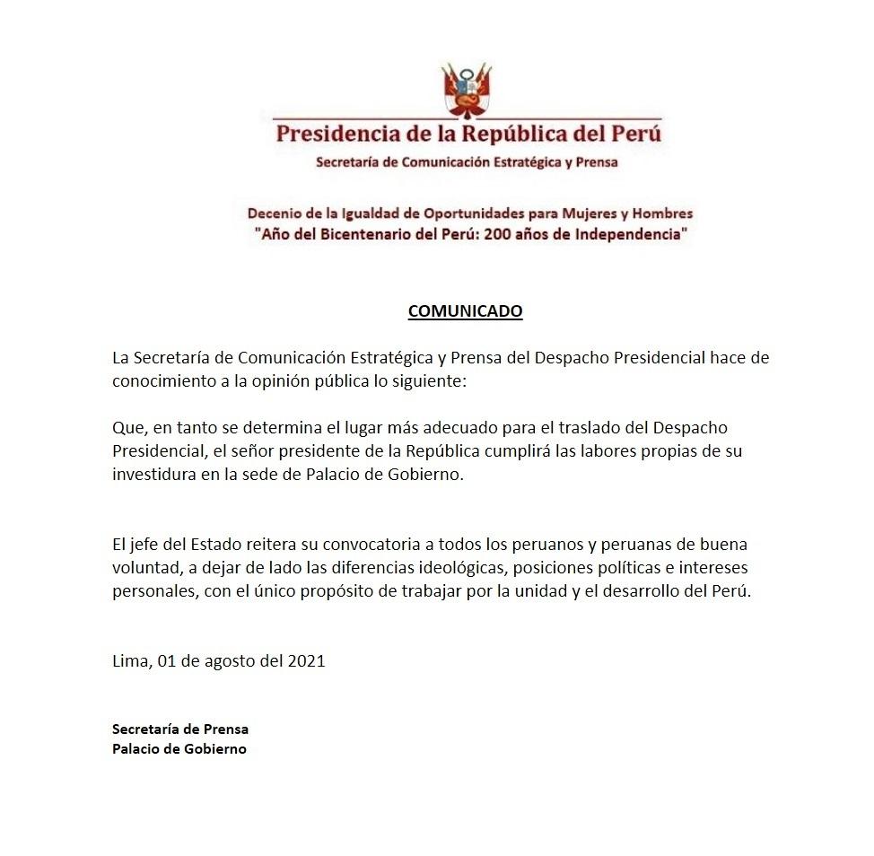 Comunicado de la Presidencia de la República