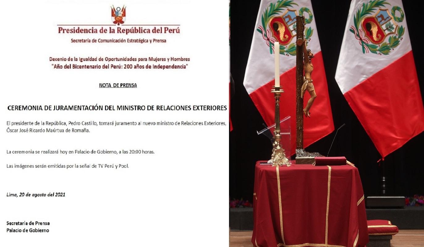 Ceremonia de juramentación del señor ministro de Relaciones Exteriores para el día de hoy a las 20:00 horas.