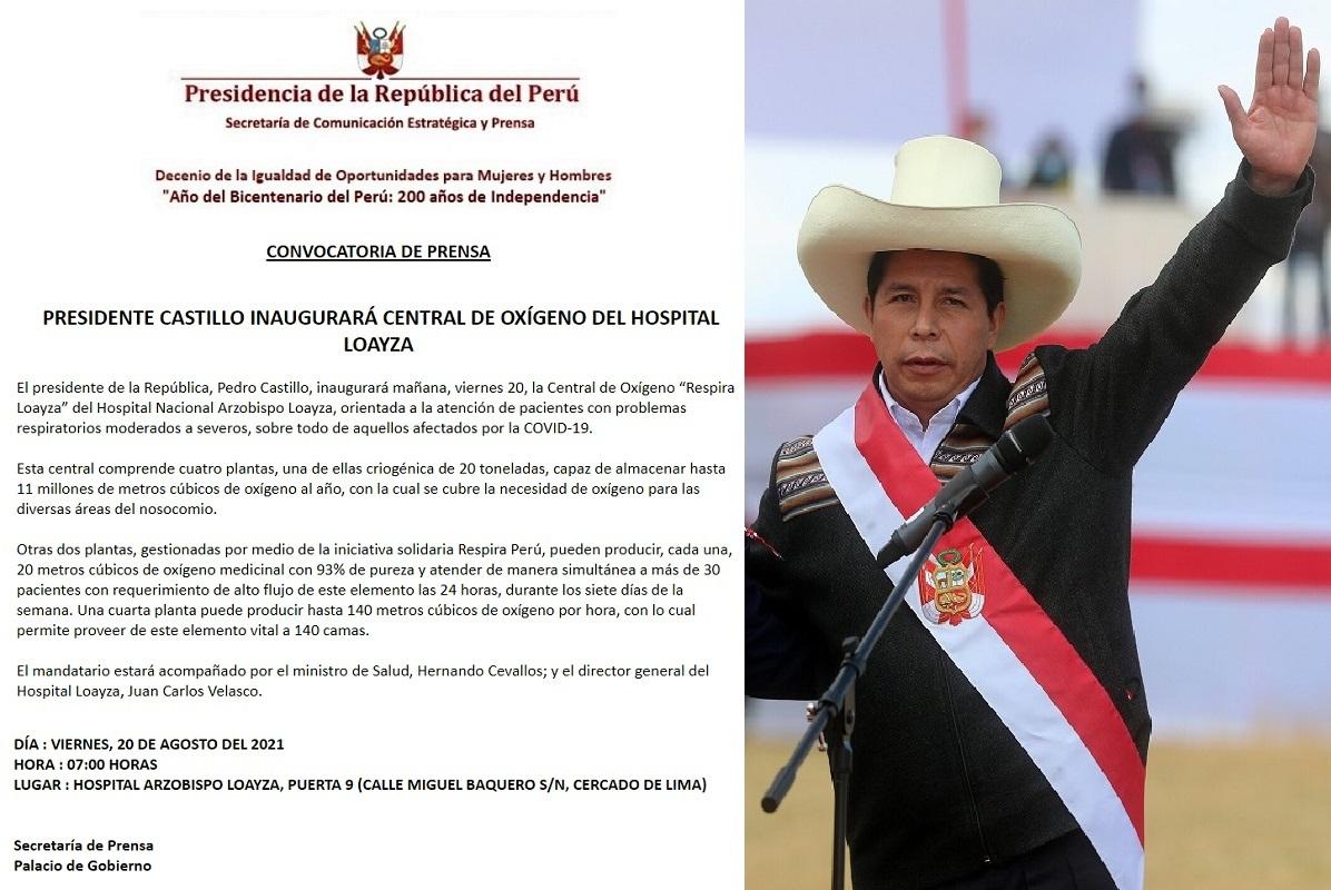 Jefe de Estado, Pedro Castillo Terrones, inaugurará mañana central de oxígeno del Hospital Loayza.