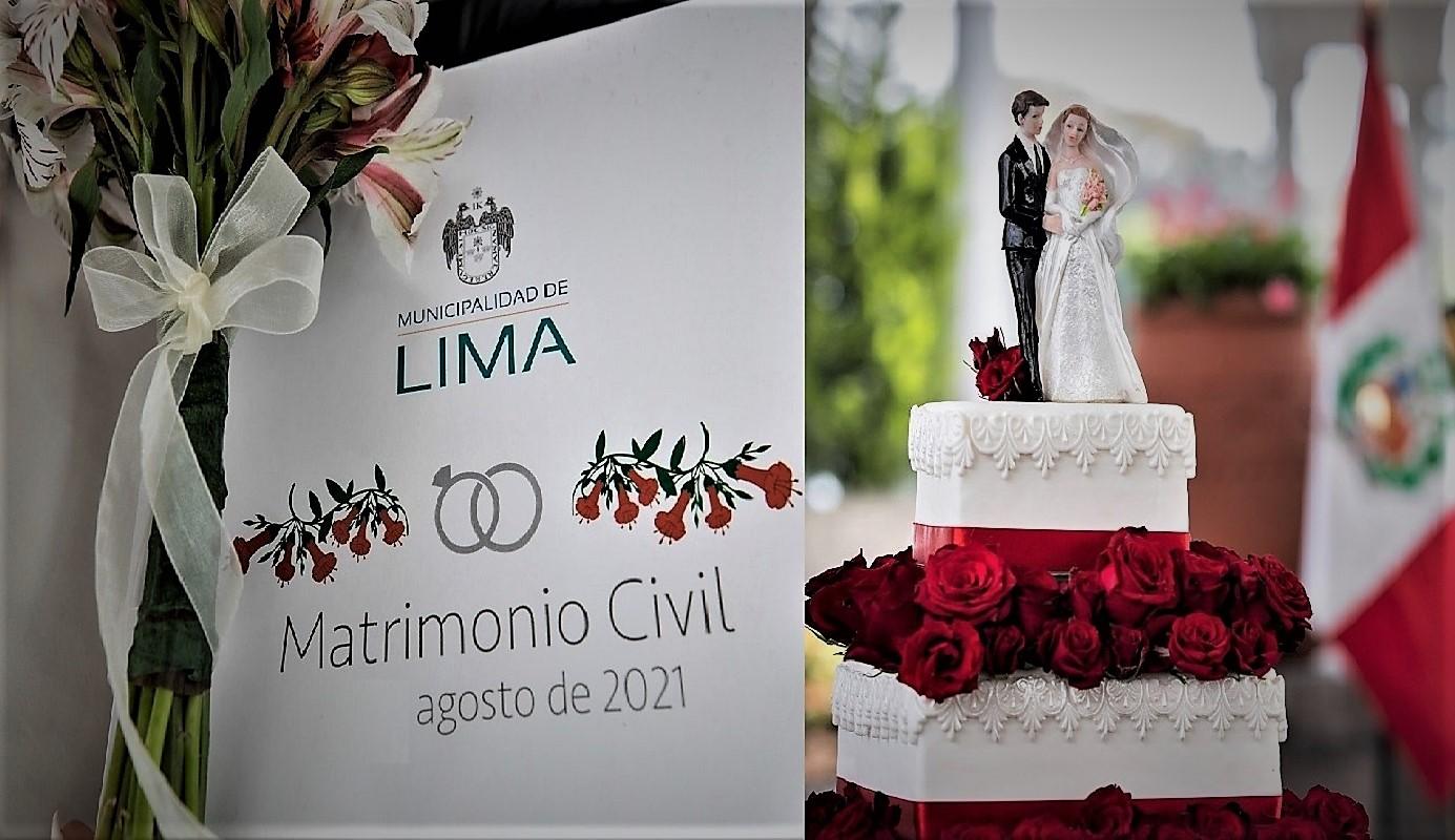 Se realizó el primer matrimonio civil comunitario presencial durante la pandemia organizado por la Municipalidad de Lima.