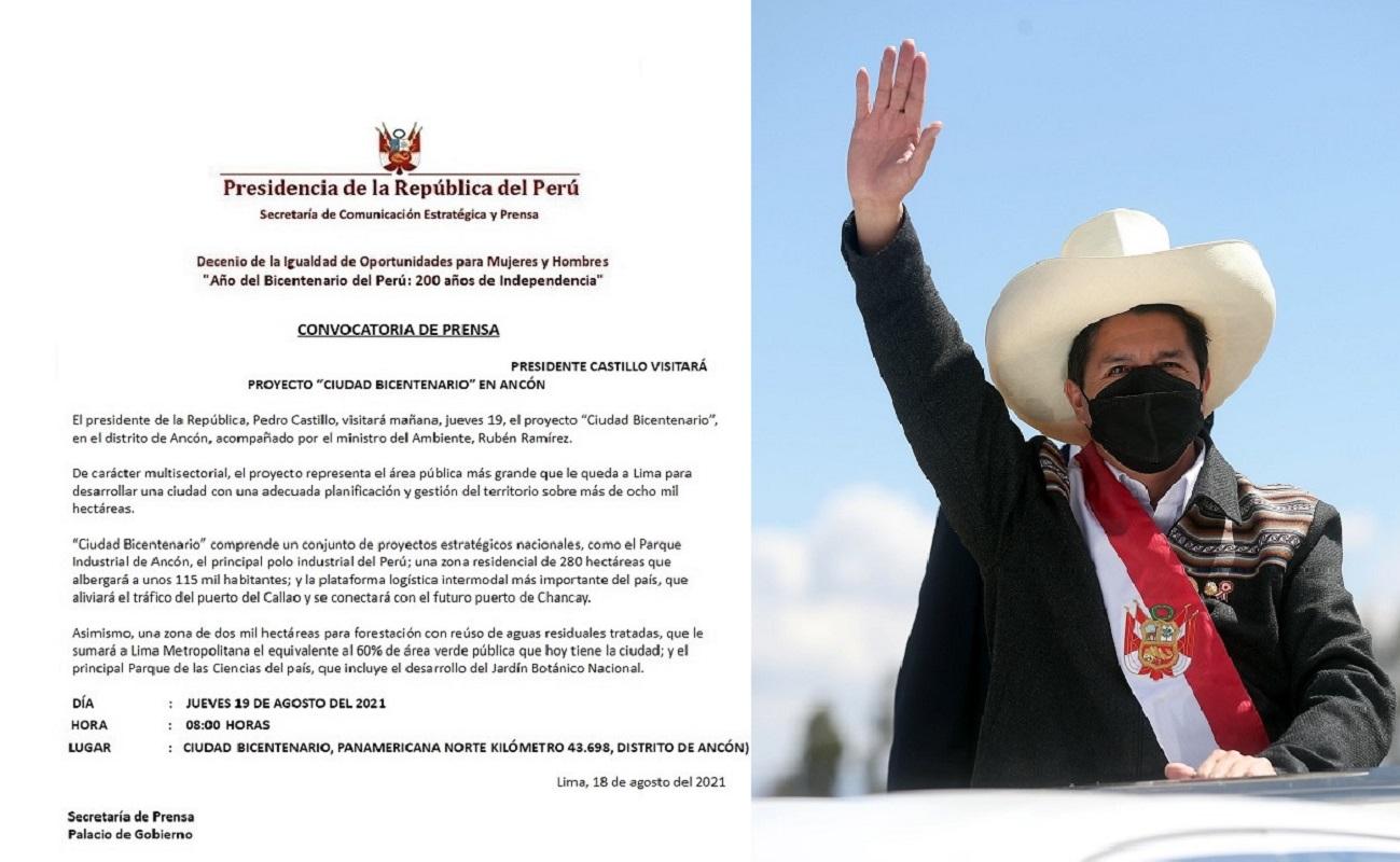 Presidente Castillo, cumplirá jornada de trabajo en el proyecto Ciudad Bicentenario, en el distrito de Ancón.