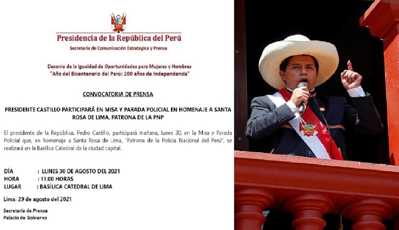 Jefe de Estado, Pedro Castillo Terrones, participará en misa y parada policial en homenaje a Santa Rosa de Lima, patrona de al PNP.