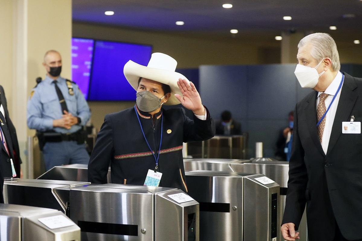 El presidente Pedro Castillo asiste a la 76.° periodo de sesiones de la Asamblea General de las Naciones Unidas en New York.