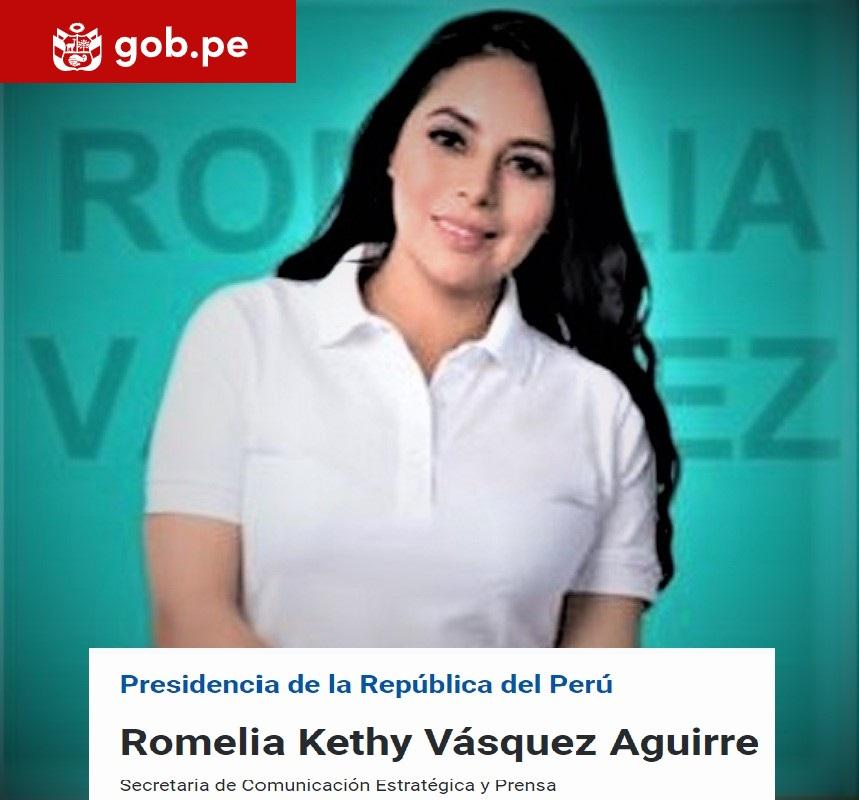 Destacada periodista Romelia Kethy Vasquez Aguirre es designada secretaria de prensa del despacho presidencial.