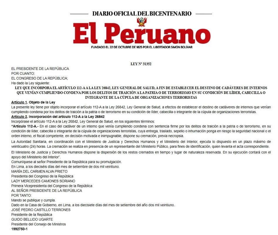 Se promulga Ley 31352 que dispone la cremación, del líder terrorista Abimael Guzmán Reynoso, previa necropsia.