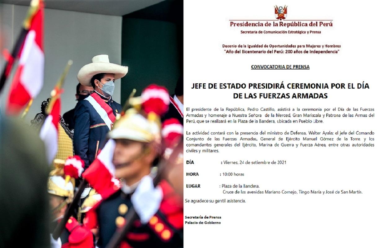 Jefe de Estado Pedro Castillo Terrones, presidirá ceremonia por el Día de las Fuerzas Armadas.