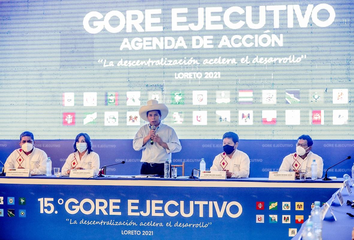 Pedo Castillo Terrones, clausuró 15° GORE Ejecutivo que reunió a los gobernadores regionales del país en Iquitos.