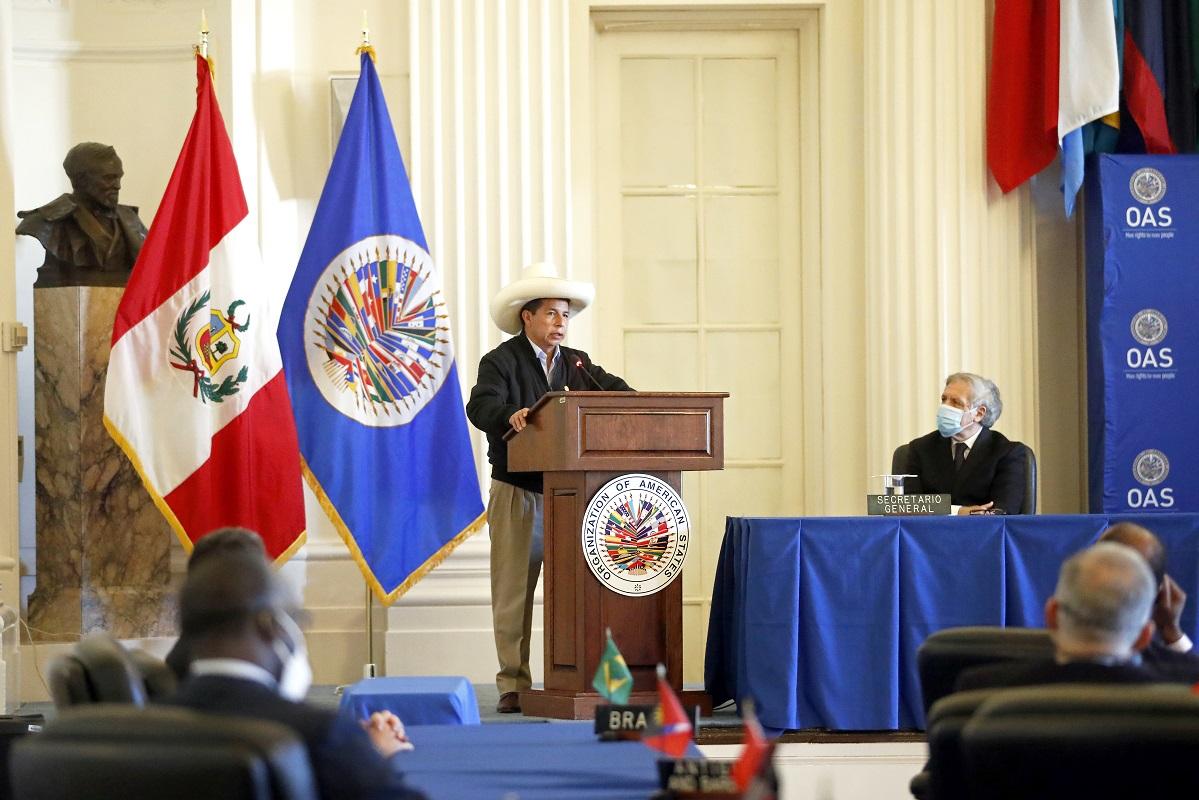 Jefe de Estado Pedro Castillo, interviene en la 76°. Asamblea del Consejo Permanente de la OEA en Washington D.C.