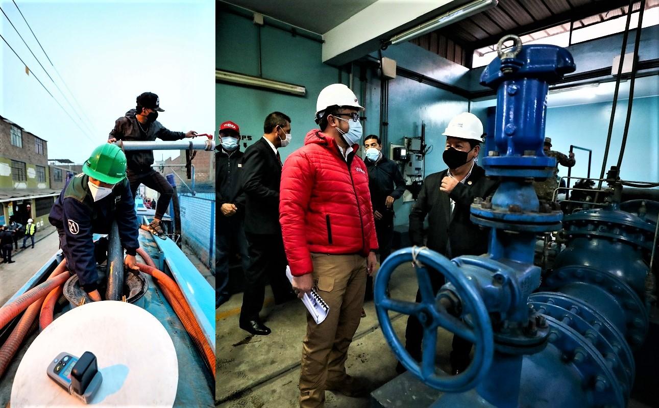 El premier Guido Bellido, supervisó el restablecimiento de agua potable en San Juan de Lurigancho desde el surtidor de agua en Zárate.