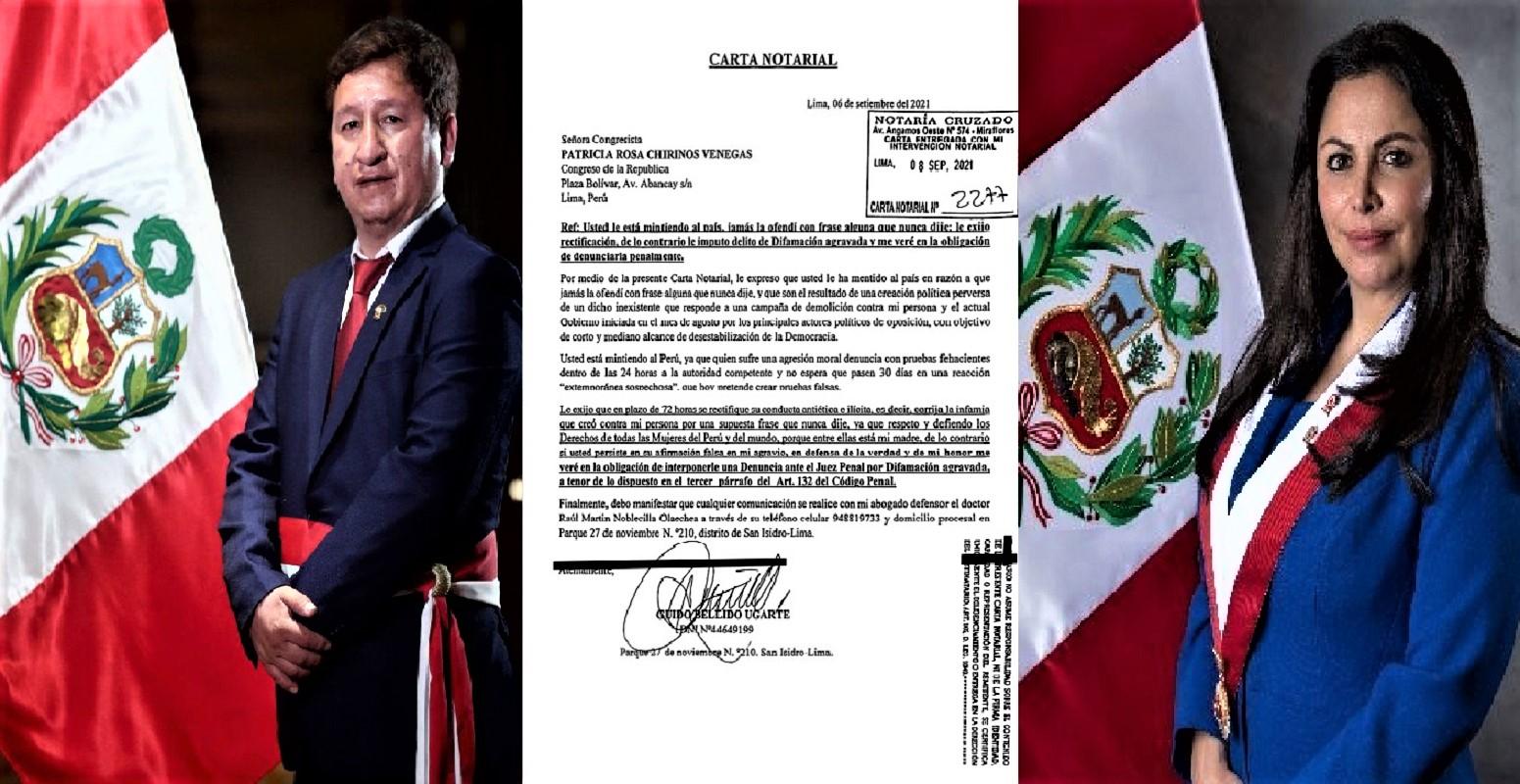 Premier Guido Bellido en carta notarial a Vicepresidenta del Congreso Patricia Chirinos exige se rectifique por las infamias contra su persona.