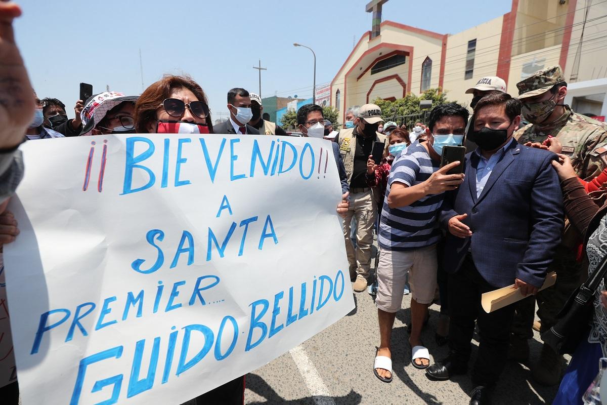 Ciudad del acero del Perú, Chiimbote, recibe al premier Guido Bellido, en agenda de trabajo en dicha ciudad.