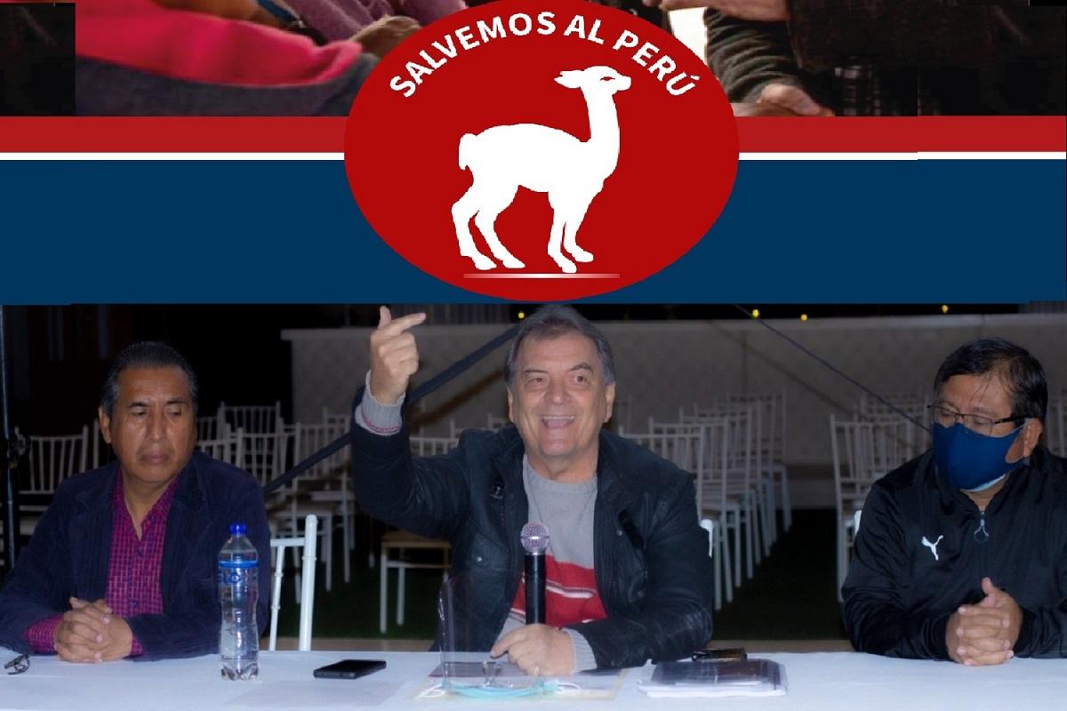 César Gamboa, ecretario General Nacional; Carlos Morales presidente del partido político Salvemos al Perú y Guillermo Suárez, secretario de organización.
