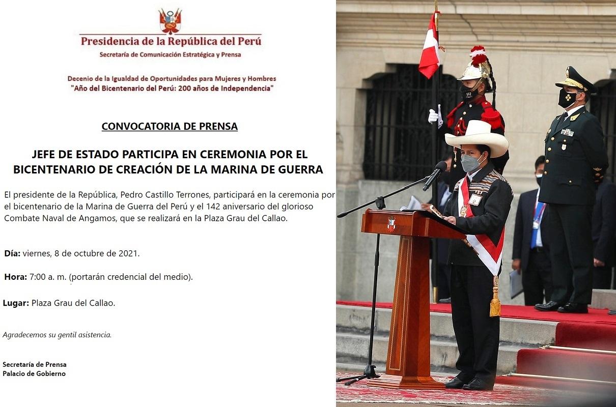 Jefe de Estado participa en ceremonia por el bicentenario de creación de la Marina de Guerra.