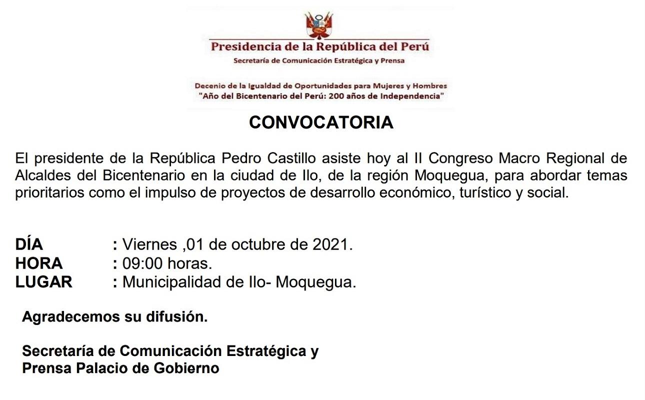 Jefe de Estado participa en II Congreso Macro Regional de Alcaldes del Bicentenario en la ciudad de Ilo-Moquegua.